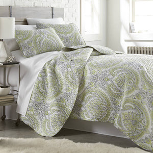 Reversible Green Pure Melody Microfiber Quilt and Sham Set by Southshore Fine Linens Main Image