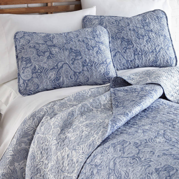 Reversible Blue Perfect Paisley Microfiber Quilt and Sham Set by Southshore Fine Linens Image 2