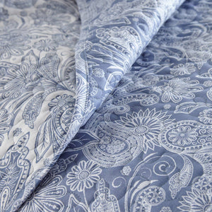 Reversible Blue Perfect Paisley Microfiber Quilt and Sham Set by Southshore Fine Linens Image 3