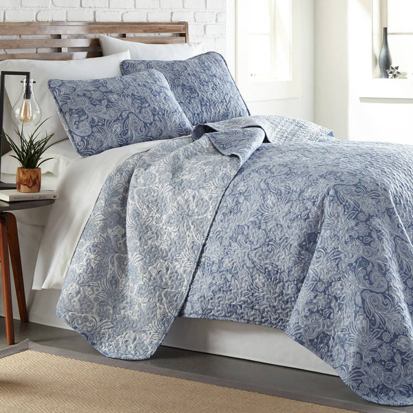 Reversible Blue Perfect Paisley Microfiber Quilt and Sham Set by Southshore Fine Linens Main Image