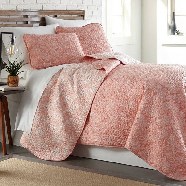 Reversible Coral Haze Perfect Paisley Microfiber Quilt and Sham Set by Southshore Fine Linens Main Image