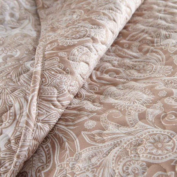 Reversible Taupe Perfect Paisley Microfiber Quilt and Sham Set by Southshore Fine Linens Image 3