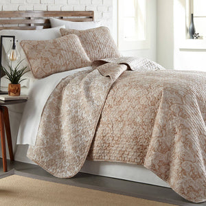 Reversible Taupe Perfect Paisley Microfiber Quilt and Sham Set by Southshore Fine Linens Main Image