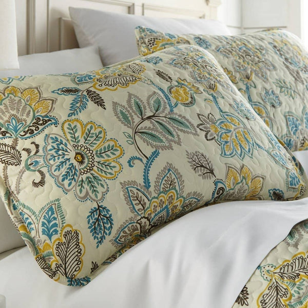Reversible Cream Wanderlust Microfiber Quilt and Sham Set by Southshore Fine Linens Image 2