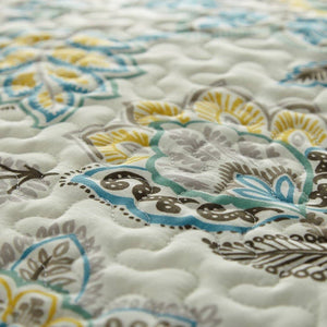 Reversible Cream Wanderlust Microfiber Quilt and Sham Set by Southshore Fine Linens Image 3
