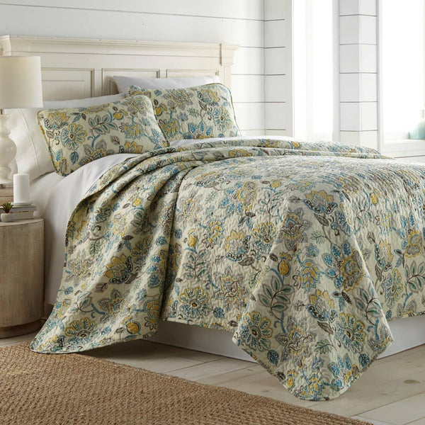 Reversible Cream Wanderlust Microfiber Quilt and Sham Set by Southshore Fine Linens Main Image