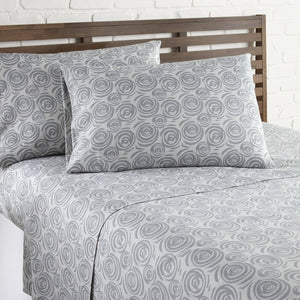 Soft and Comfortable Grey Whimsical Swirls Microfiber Sheet and Pillowcase Set by Southshore Fine Linens Image 2