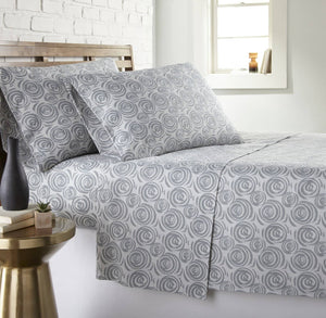 Soft and Comfortable Grey Whimsical Swirls Microfiber Sheet and Pillowcase Set by Southshore Fine Linens Main Image