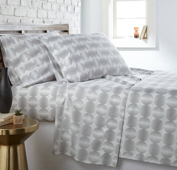 Soft and Comfortable Grey Modern Spheres Microfiber Sheet and Pillowcase Set by Southshore Fine Linens Main Image