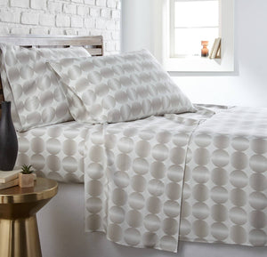Soft and Comfortable Taupe Modern Spheres Microfiber Sheet and Pillowcase Set by Southshore Fine Linens Main Image