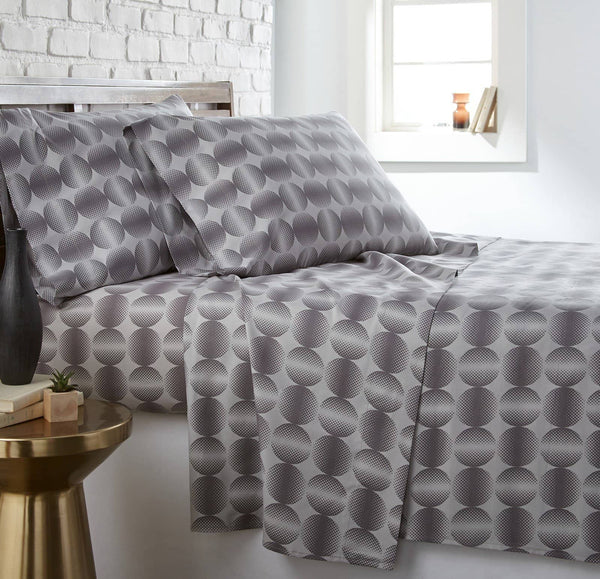Soft and Comfortable Silver Modern Spheres Microfiber Sheet and Pillowcase Set by Southshore Fine Linens Main Image
