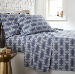 Soft and Comfortable Blue Modern Spheres Microfiber Sheet and Pillowcase Set by Southshore Fine Linens Main Image