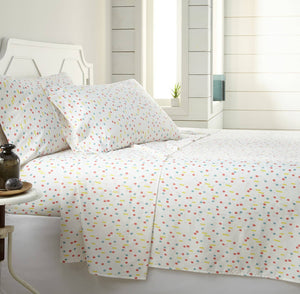 Soft and Comfortable White Confetti Microfiber Sheet and Pillowcase Set by Southshore Fine Linens Main Image