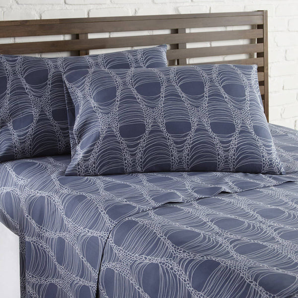 Soft and Comfortable Blue Abstract Haze Microfiber Sheet and Pillowcase Set by Southshore Fine Linens Image 2