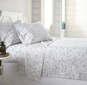 Soft and Comfortable White and Grey Botanical Forest Microfiber Sheet and Pillowcase Set by Southshore Fine Linens Main Image