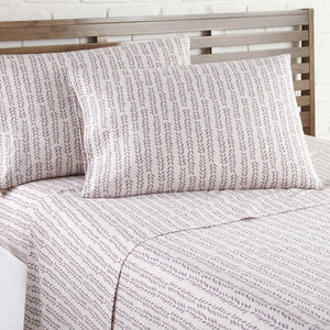 Soft and Comfortable White with Mauve Lovely Vine Microfiber Sheet and Pillowcase Set by Southshore Fine Linens Image 2