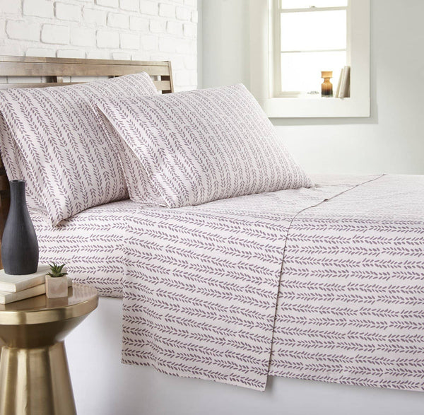 Soft and Comfortable White with Mauve Lovely Vine Microfiber Sheet and Pillowcase Set by Southshore Fine Linens Main Image
