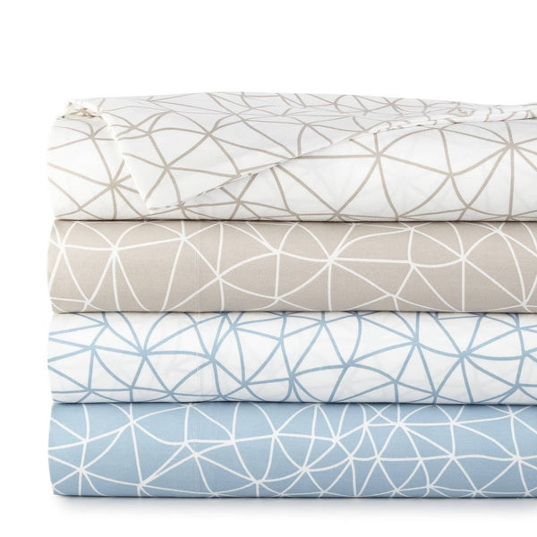 Soft and Comfortable Geometric Maze Microfiber Sheet and Pillowcase Set by Southshore Fine Linens Stack Image