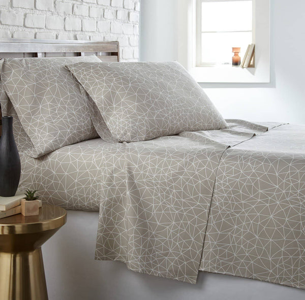 Soft and Comfortable Taupe with White Geometric Maze Microfiber Sheet and Pillowcase Set by Southshore Fine Linens Main Image