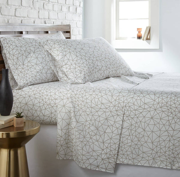 Soft and Comfortable White with Taupe Geometric Maze Microfiber Sheet and Pillowcase Set by Southshore Fine Linens Main Image