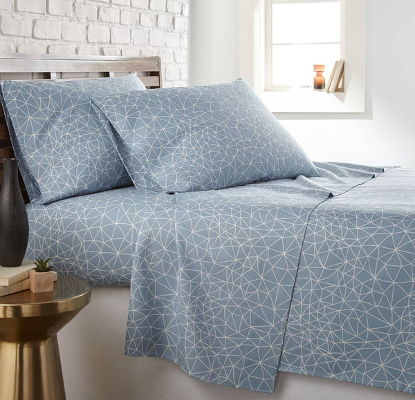 Soft and Comfortable Blue with White Geometric Maze Microfiber Sheet and Pillowcase Set by Southshore Fine Linens Main Image