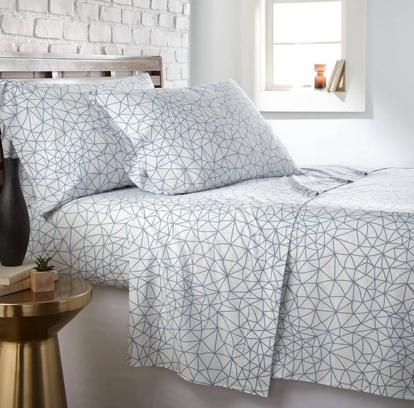 Soft and Comfortable White with Blue Geometric Maze Microfiber Sheet and Pillowcase Set by Southshore Fine Linens Main Image