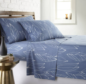 Soft and Comfortable Blue Modern Foliage Microfiber Sheet and Pillowcase Set by Southshore Fine Linens Main Image