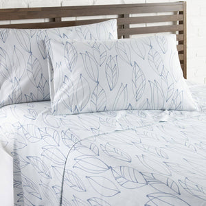 Soft and Comfortable White with Blue Modern Foliage Microfiber Sheet and Pillowcase Set by Southshore Fine Linens Image 2