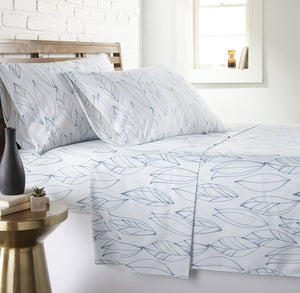 Soft and Comfortable White with Blue Modern Foliage Microfiber Sheet and Pillowcase Set by Southshore Fine Linens Main Image