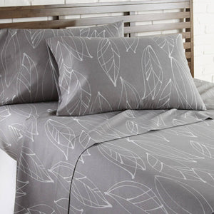 Soft and Comfortable Grey Modern Foliage Microfiber Sheet and Pillowcase Set by Southshore Fine Linens Image 2
