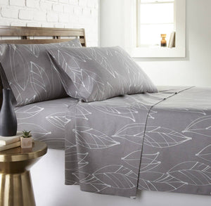 Soft and Comfortable Grey Modern Foliage Microfiber Sheet and Pillowcase Set by Southshore Fine Linens Main Image
