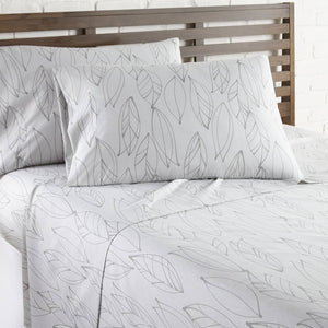 Soft and Comfortable White with Grey Modern Foliage Microfiber Sheet and Pillowcase Set by Southshore Fine Linens Image 2