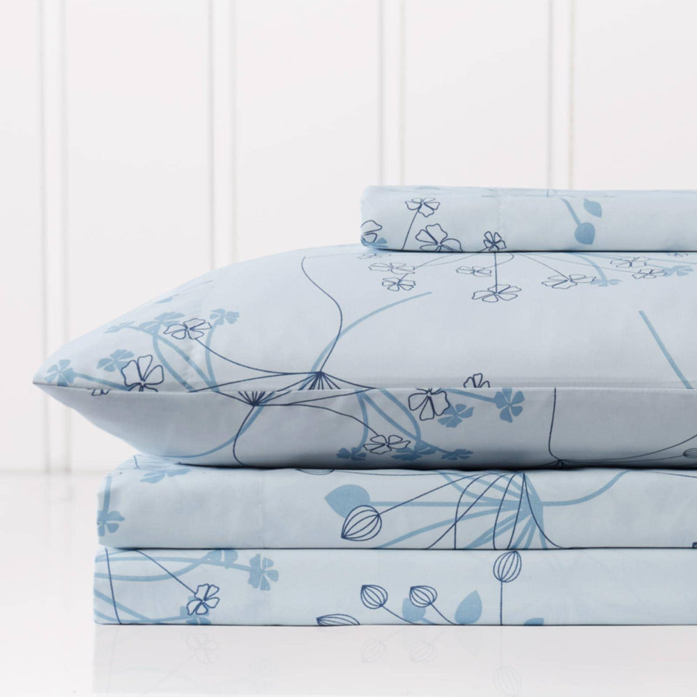 Soft Floral Sheet Set in Blue