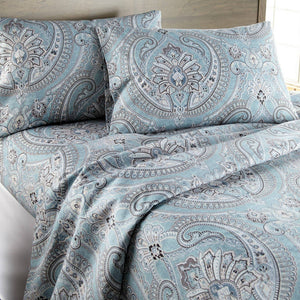 Reversible Aqua Pure Melody Microfiber Sheet and Pillowcase Set by Southshore Fine Linens Image 2