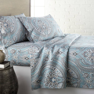 Reversible Aqua Pure Melody Microfiber Sheet and Pillowcase Set by Southshore Fine Linens Main Image