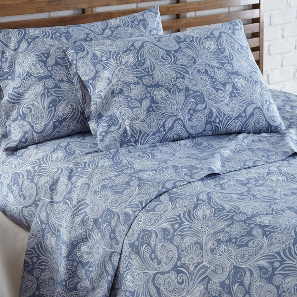 Soft and Comfortable Blue with White Perfect Paisley Microfiber Sheet and Pillowcase Set Image 2