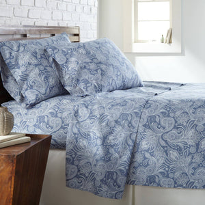 Soft and Comfortable Blue with White Perfect Paisley Microfiber Sheet and Pillowcase Set Main Image