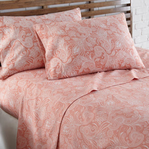Soft and Comfortable Coral Haze with White Perfect Paisley Microfiber Sheet and Pillowcase Set Image 2