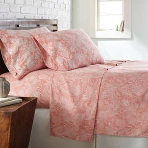 Soft and Comfortable Coral Haze with White Perfect Paisley Microfiber Sheet and Pillowcase Set Main Image