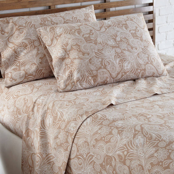 Soft and Comfortable Taupe with White Perfect Paisley Microfiber Sheet and Pillowcase Set Image 2