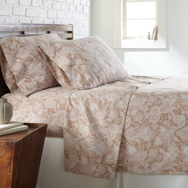 Soft and Comfortable Taupe with White Perfect Paisley Microfiber Sheet and Pillowcase Set Main Image