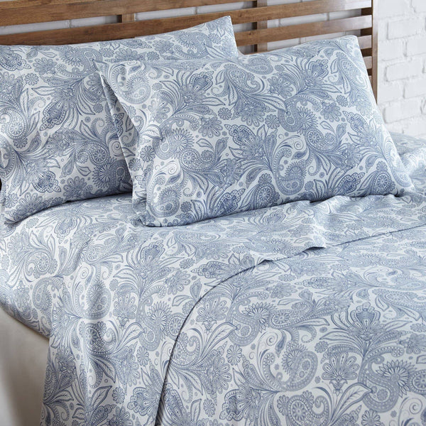Soft and Comfortable White with Blue Perfect Paisley Microfiber Sheet and Pillowcase Set Image 2