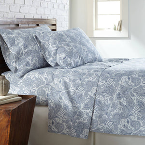 Soft and Comfortable White with Blue Perfect Paisley Microfiber Sheet and Pillowcase Set Main Image