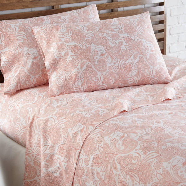Soft and Comfortable White with Coral Haze Perfect Paisley Microfiber Sheet and Pillowcase Set Image 2