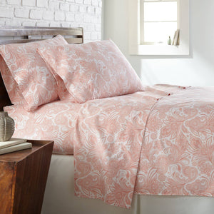Soft and Comfortable White with Coral Haze Perfect Paisley Microfiber Sheet and Pillowcase Set Main Image