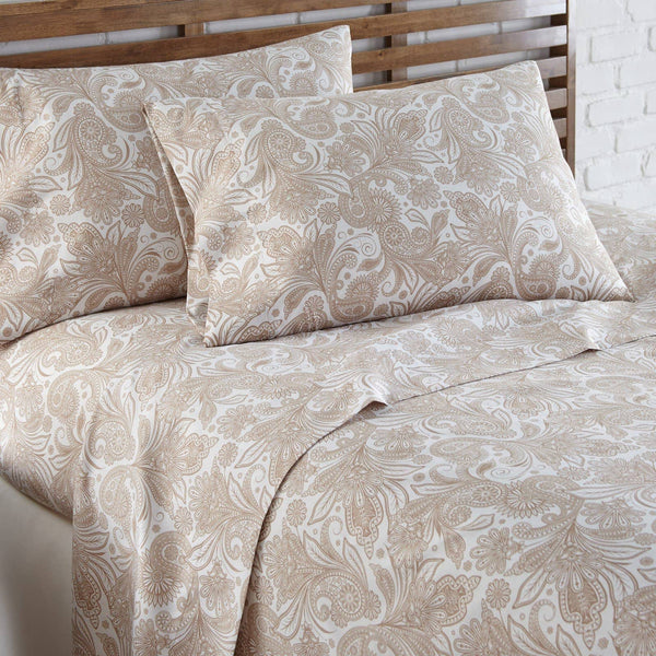 Soft and Comfortable White with Taupe Perfect Paisley Microfiber Sheet and Pillowcase Set Image 2