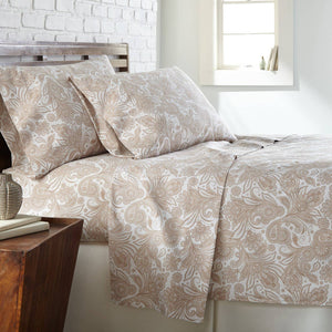 Soft and Comfortable White with Taupe Perfect Paisley Microfiber Sheet and Pillowcase Set Main Image