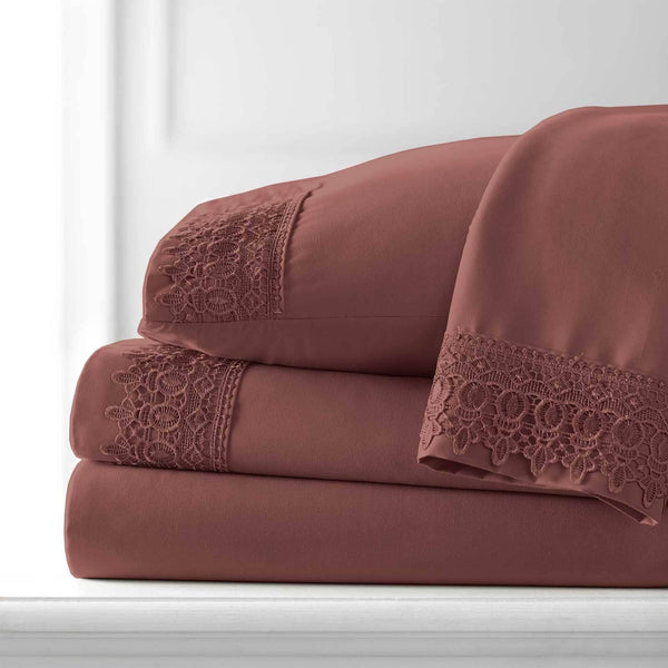Vintage 4-piece Crochet Lace Hem Extra Deep Pocket Comfortable Sheet Set in Marsala