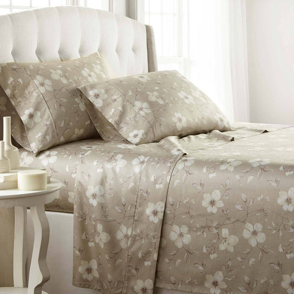 Mystic Garden Extra Deep Pocket Printed Sheet Set in Taupe Grey