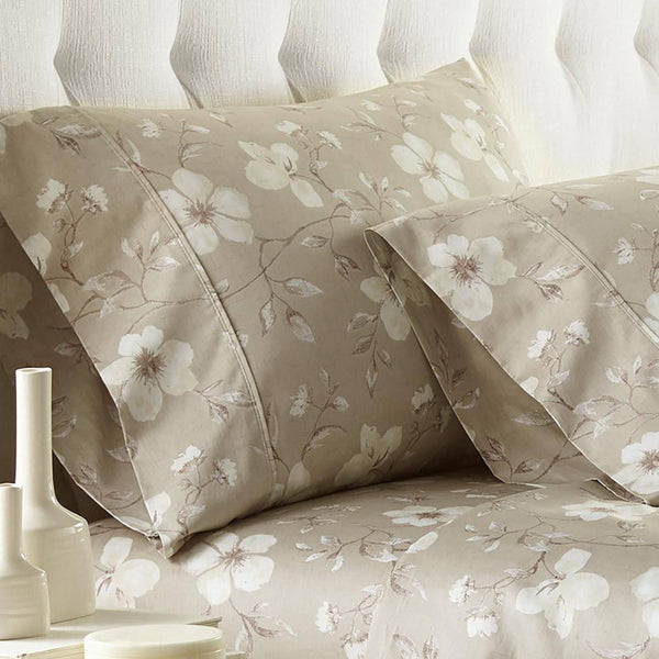 Mystic Garden 100% Cotton Sateen Pillow Cases in Taupe Grey